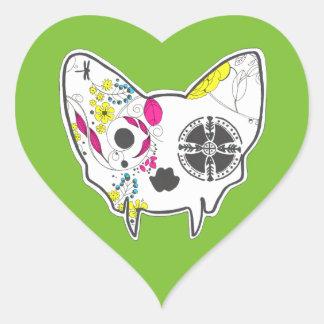 Sugar Skull Cat Heart Sticker