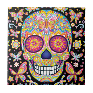 Sugar Skull Ceramic Tile - Day of the Dead Art
