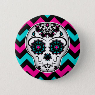 Sugar skull chevron stripes design 6 cm round badge