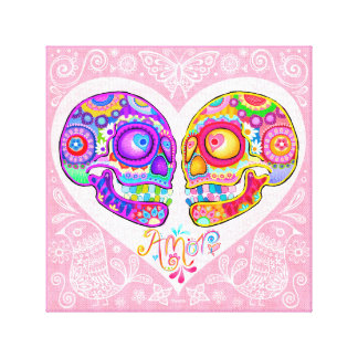 Sugar Skull Couple Art Stretched Canvas Prints