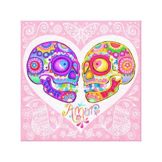 Sugar Skull Couple Art Canvas Print