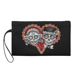 Sugar Skull Couple Bag - Clutch Cosmetic Accessory Wristlet