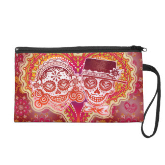 Sugar Skull Couple Bag - Clutch Cosmetic Accessory Wristlet Clutch