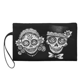 Sugar Skull Couple Bag Wristlet Purses