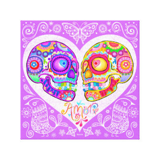Sugar Skull Couple Stretched Canvas Print