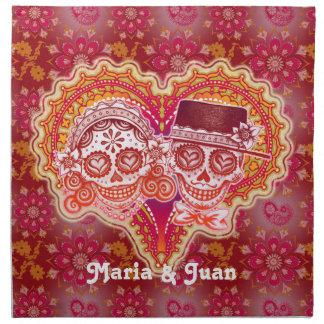 Sugar Skull Couple Cloth Dinner Napkins- Custom!