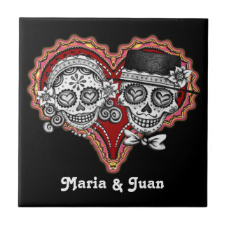 Sugar Skull Couple Novios Ceramic Tile - Customize