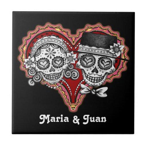 Sugar Skull Couple Novios Ceramic Tile - Customize