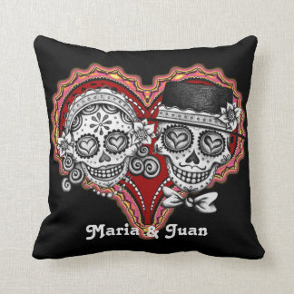 Sugar Skull Couple Pillow - Customize it! Throw Cushions