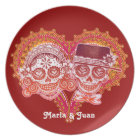 Sugar Skull Couple Plate - Customise with names!