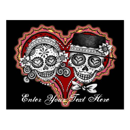 Sugar Skull Couple Postcard - Add Your Own Text!