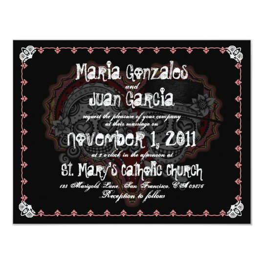 Sugar Skull Couple Wedding Invitations