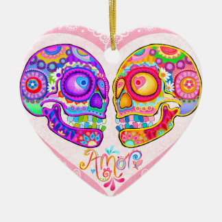 Sugar Skull Couple Wedding Ornament