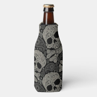 Sugar Skull Crossbones Pattern Bottle Cooler