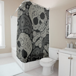 Sugar Skull Crossbones Pattern Shower Curtain