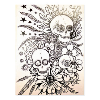 sugar skull day of dead tattoo art post card art