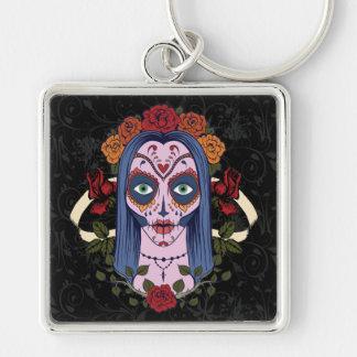 Sugar Skull Day Of The Dead Bride Red Roses Key Ring