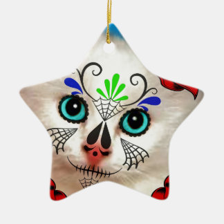 SUGAR SKULL DAY OF THE DEAD CAT KITTY CHRISTMAS ORNAMENT