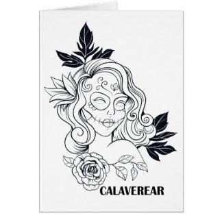 Sugar Skull Day Of The Dead Girl CALAVEREAR Greeting Card