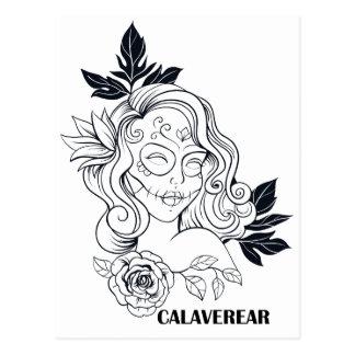 Sugar Skull Day Of The Dead Girl CALAVEREAR Postcard