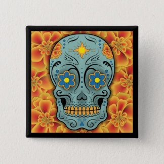 Sugar Skull - Day of the Dead (Marigold) 15 Cm Square Badge
