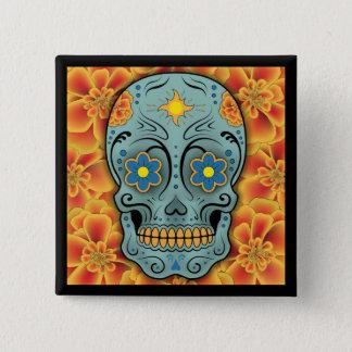 Sugar Skull - Day of the Dead (Marigold) 15 Cm Square Badge