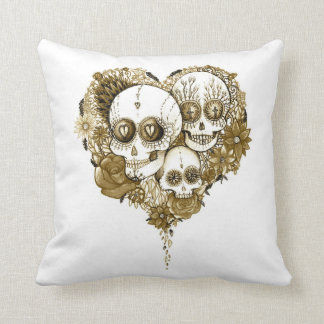 sugar skull day of the dead tattoo art cushion