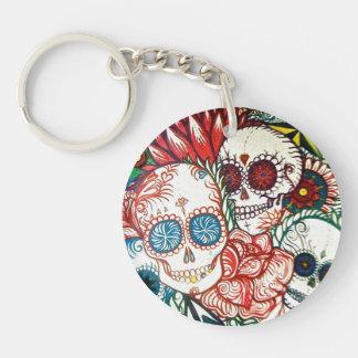sugar skull day of the dead tattoo art key chain