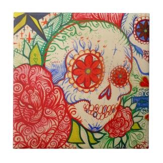 sugar skull day of the dead tattoo art wall tile