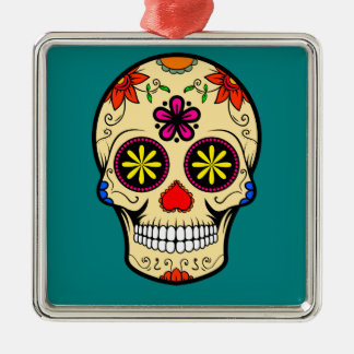 Sugar Skull Day of the Dead Teal Christmas Ornament