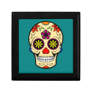 Sugar Skull Day of the Dead Teal Gift Box