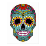 Sugar Skull Day of the Dead with floral ornaments