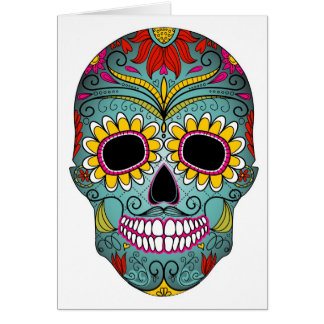Sugar Skull Day of the Dead with floral ornaments Card