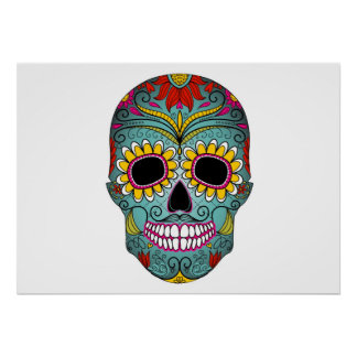 Sugar Skull Day of the Dead with floral ornaments Poster