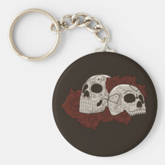 Sugar Skull Design with Roses Basic Round Button Key Ring