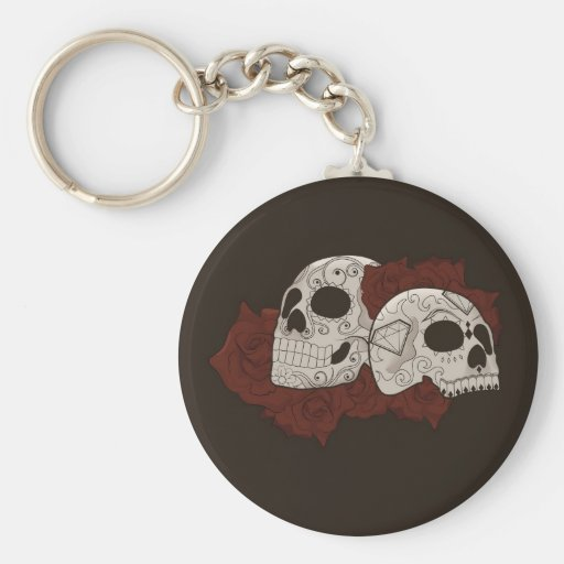 Sugar Skull Design with Roses Keychain