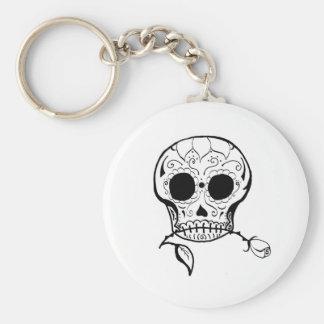 Sugar Skull Día de los Muertos Basic Round Button Key Ring