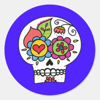 Sugar Skull, Dia de Los Muertos Stickers Round Sticker