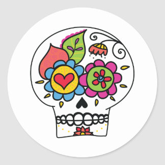 Sugar Skull, Dia de Los Muertos Stickers, white Round Sticker