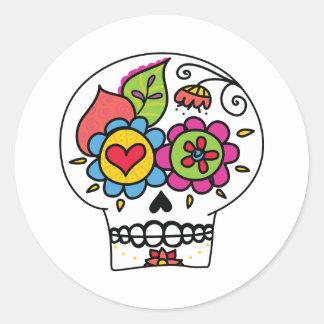 Sugar Skull, Dia de Los Muertos Stickers, white Classic Round Sticker