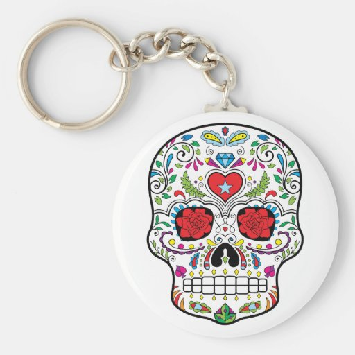 Sugar Skull Dia Des Los Muertos Styled Products Keychain
