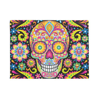 Sugar Skull Door Mat - Day of the Dead Doormat