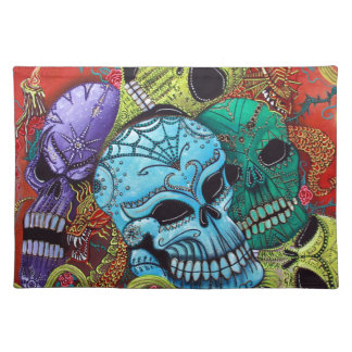 Sugar Skull Dragon Art Placemat