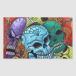 Sugar Skull Dragon Art Rectangular Sticker