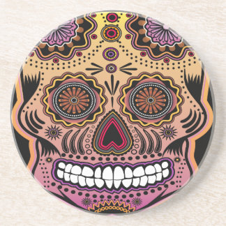 sugar skull drink coaster