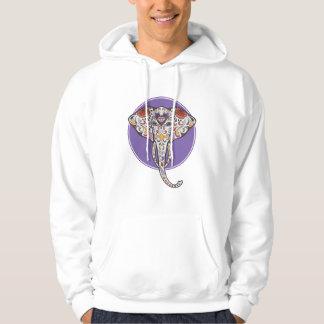Sugar Skull Elephant in Purple Circle Hoodie