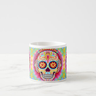 Sugar Skull Espresso Mug - Day of the Dead Art
