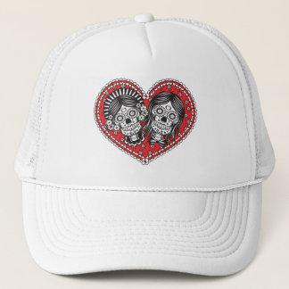 Sugar Skull Female Couple Trucker Hat