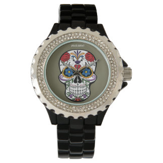 SUGAR SKULL | floral editable text Wrist Watches