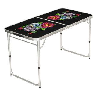 SUGAR SKULL & FLOWER PONG TABLE